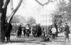 Children and adults on the White House lawn during the annual White House Easter egg roll. (Courtesy Library of Congress)