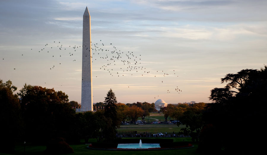 The Washington Monument and Jefferson Memorial are seen at dusk behind the the South Lawn Fountain of the White House, Oct. 22, 2009. (Official White House Photo by Lawrence Jackson)