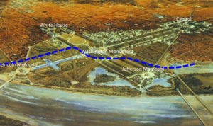 The original Potomac River shoreline is marked in blue.