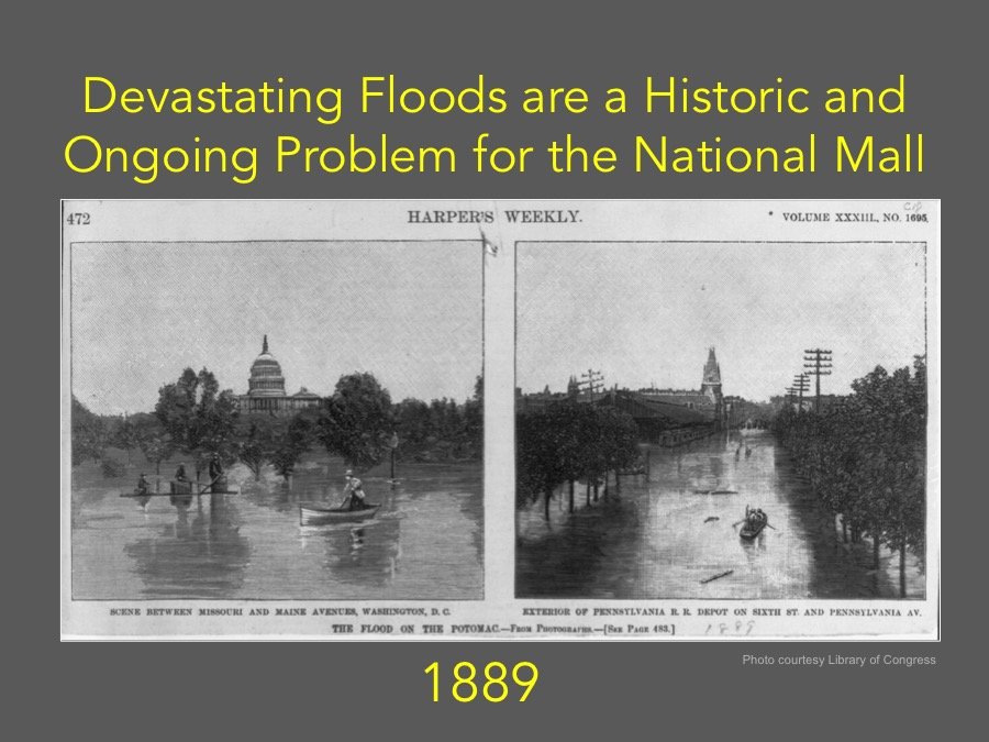 Devastating Floods are a Historic and Ongoing Problem for the National Mall (1889 Photo courtesy Library of Congress)