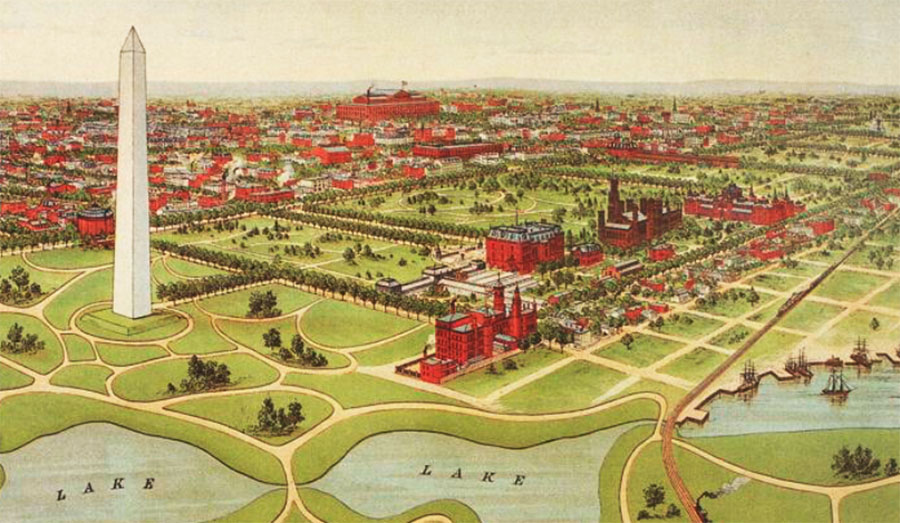 1892 illustration of the Washington Monument and grounds (Courtesy: Library of Congress)