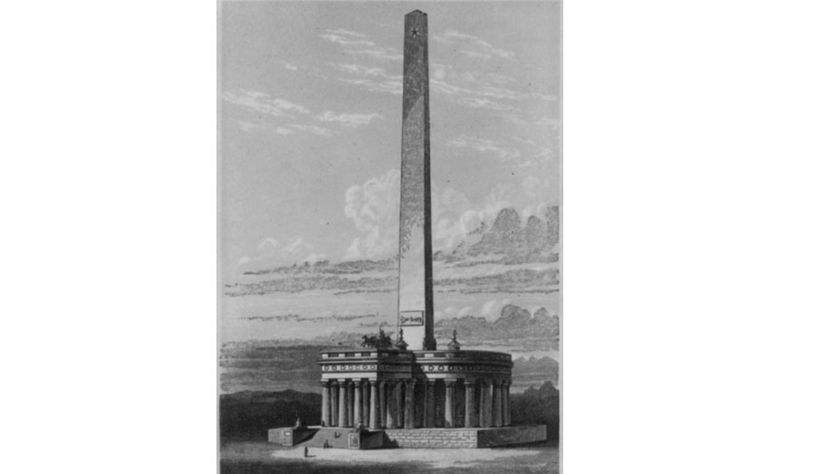 The Washington National Monument, in the city of Washington base of the Pantheon, 250 feet diameter. Height, 100 feet. Height of obelisk, 500 feet. The loftiest monument on earth to a nation's greatest benefactor. (Courtesy: Library of Congress)