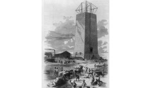 Print shows the incomplete monument in Washington, D.C., with construction underway. (Courtesy: Library of Congress)